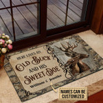 Personalized Deer Here Lives Old Buck Sweet Doe Customized Doormat DHC0406307
