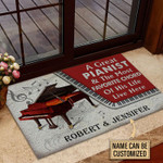 Personalized Piano Couple Live Here Red Customized Doormat DHC0406211