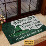 Personalized Witch Grumpy Toad Live Here Customized Doormat DHC0406162