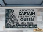 Personalized Navy Pontoon Captain And Pontoon Queen Doormat DHC0406338