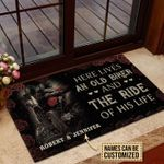 Personalized Motorcycling Here Lives Biker Customized Doormat DHC0406261