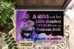Personalized Witch And Her Little Monsters Live Here Customized Doormat DHC0406283