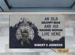 Personalized Camping Grumpy Bear Wander Woman Customized Doormat DHC0406278
