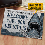 Personalized Shark Welcome Delicious Customized Doormat DHC0406226