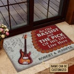 Personalized Bass Guitar Bassist Couple Live Here Customized Doormat DHC0406156