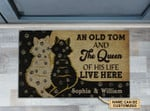 Personalized Cat Couple Old Tom And Queen Live Here Customized Doormat DHC0406311