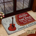 Personalized Guitar Bassist Old Couple Live Here Customized Doormat DHC0406157