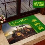 The Green Tractor Personalized Doormat DHC070646