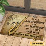 Love Saxophone Personalized Doormat DHC070683