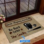 Playing Baseball Personalized Doormat DHC0706450