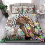Graffiti On A Wall An Elephant Comes Out Of A Brick Wall NI12030011YT Bedding Set