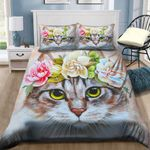 Cute Cat With Flowers NI1601050YD Bedding Set