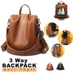Premium Leather Anti-Thief 3-Way Women's Backpack