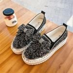 👡Women Shining Rhinestone Slip-on Loafers with Cute Bowknot