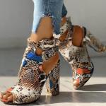 Crazefad Snakeskin Ankle Buckled Chunky Heels