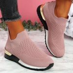 Women's Sneakers Elastic Slip on Flat Walking Shoes