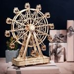 Rotatable DIY 3D Ferris Wheel Wooden Model Puzzle