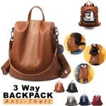 Zarya™ - Premium Leather Three Way Anti-Thief Women's Backpack