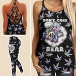 Dont care Bear Weed Criss-cross Tanktop and Legging set