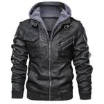 🔥 CLEARANCE SALE 🔥 Men's PU Jacket Removable Hood