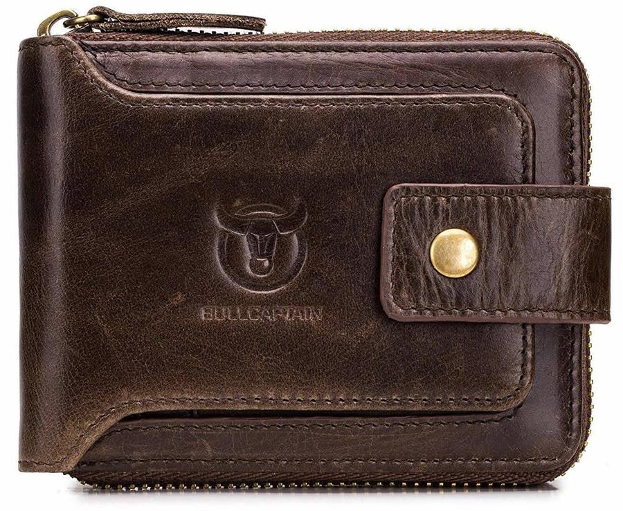Leather Mens RFID Blocking Wallet Zipper Bifold Wallets Bull Captain