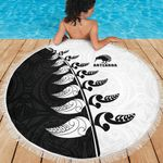 Beach Blanket NZ Aotearoa Silver Fern Koru Style Black White K4