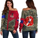 Anzac New Zealand Off Shoulder Sweater Lest We Forget Camo - Road to Peace K4