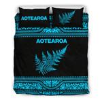 Aotearoa New Zealand Maori Bedding Set Silver Fern - Blue K4x