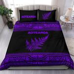 Aotearoa New Zealand Maori Bedding Set Silver Fern - Purple K4x