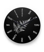 Maori Language With Silver Fern New Zealand Wall Clock