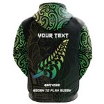 Maori Lion Rugby Zip Hoodie Green - Customized K5