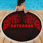 Beach Blanket NZ Aotearoa Maori Tattoo Red K4