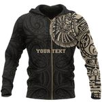 Maori Zip Hoodie, Maori Warrior Tattoo Full Zip Hoodie Tan - Customized A75