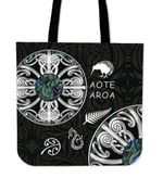 New Zealand Aotearoa Tote Bag, Maori Mangopare Paua Shell K4