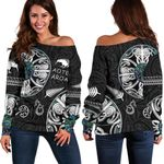New Zealand Aotearoa Women Off Shoulder Sweater, Maori Mangopare Paua Shell K4