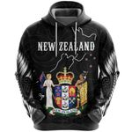 New Zealand Hoodie, Coat Of Arms NZ Map Pullover Hoodie K5