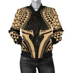 New Zealand Bomber Jacket for Women, Full Torso Aqua - Gold K4