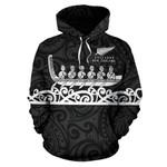New Zealand Hoodie, Maori Waka Pullover Hoodie Black K4