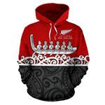 New Zealand Hoodie, Maori Waka Pullover Hoodie Red K4