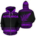 New Zealand Maori Zip Up Hoodie, Aotearoa Silver Fern Zipper Hoodie Purple K4x - 1st New Zealand