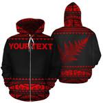 New Zealand Maori Zip Up Hoodie, Aotearoa Silver Fern Zipper Hoodie Red - Customized K4x - 1st New Zealand
