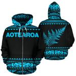 New Zealand Maori Zip Up Hoodie, Aotearoa Silver Fern Zipper Hoodie Blue K4x - 1st New Zealand