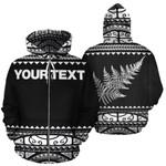 New Zealand Maori Zip Up Hoodie, Aotearoa Silver Fern Zipper Hoodie White - Customized K4x - 1st New Zealand
