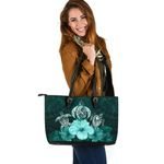 Three Turtle Polynesian Large Leather Tote Hibiscus Turquoise TH5 - 1st New Zealand