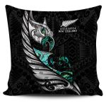 New Zealand Pillow Cover Manaia Paua Fern Wing - White K4 - 1st New Zealand