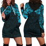 New Zealand Women's Hoodie Dress, Maori Polynesian Tattoo Blue TH4 - 1st New Zealand
