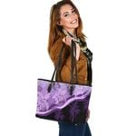 Purple Turtle Hibiscus Small Leather Tote K5 - 1st New Zealand