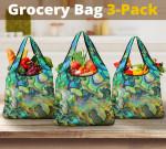 New Zealand Paua Shell Grocery Bag 3-Pack 01 K5 - 1st New Zealand