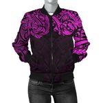 New Zealand Women's Bomber Jacket, Maori Polynesian Tattoo Purple TH4 - 1st New Zealand