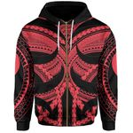 Samoan Tattoo All Over Zip-Hoodie Red TH4 - 1st New Zealand